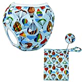 Wiederverwendbare Badewindeln für Säuglinge- Schwimmwindeln aus Baby-Süßbadeanzug, sparsam und leicht zu waschen, wasserdicht-fest-100 % PUL-Beutel (Heißluftballon)