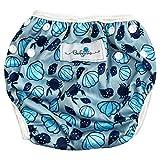 Babyino wiederverwendbare Schwimm-Windel   Bade-Hose für Babys und Kleinkinder (Muschel Blau) 6 bis 24 Monate Verstellbare Größe mitwachsende Schwimm-Kleidung