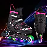 Hesyovy Leucht PU Räder Inline-Skates, Rollerblades für Kinder, größenverstellbar von 31 bis 42, ideal für Anfänger, komfortable Rollschuhe, Inliner für Mädchen und Jungen (Schwarz-Rosa, EU 31-34)