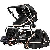 Kinderwagen 3 in 1 Tragbarer Reisekinderwagen Faltbarer Kinderwagen Aluminiumrahmen Hohe Landschaft Auto für Neugeborene Babyboomer Poussette (Black Gold)