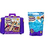 Kinetic Sand 6037447 - Sandspiel Koffer mit 907 g Sand & 6047183 - 907 g Beutel blau