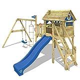 WICKEY Spielturm Klettergerüst Smart Journey mit Schaukel & blauer Rutsche, Stelzenhaus mit Kletterleiter & Spiel-Zubehör