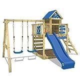 WICKEY Spielturm Klettergerüst Smart Cave mit Schaukel & blauer Rutsche, Baumhaus mit Sandkasten, Kletterleiter & Spiel-Zubehör