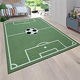 Paco Home Kinder-Teppich, Spiel-Teppich Für Kinderzimmer Mit Fußball-Motiv, In Grün, Grösse:140x200 cm