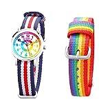 Kinder Armbanduhr Jungen und Mädchen - süße Quarzuhr mit modischem Nylon Armband und Lern-Ziffernblatt - Lernuhr analog, zum Uhrzeit Lernen (Regenbogen)