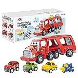 City Transport Truck Car Toy Set - Car Play Vehicles Spielzeug,LKW-Träger mit Autospielzeug, 5 in 1 Spielzeug für 3 4 5 6 7 Jahre alte Jungen, Kinder