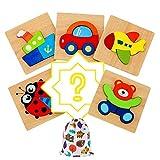 IMMEK 3D Holzpuzzles Kinderspielzeug Spielzeug für ab 1 2 3 4 5 Jahr Kinder Holz Puzzle Montessori Baby Lernspielzeug Junge und Mädchen Weihnachten Geschenk Steckpuzzle, 6 Pcs