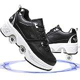 Ylmhe Rollschuhe Madchen Roller Skates Verstellbar 2-In-1 Mehrzweck-Schuhe Unisexe Skates Damen Inline Skates Mädchen Inline Skate Deformation Rollschuh