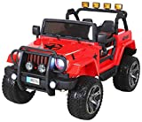 Actionbikes Motors Kinder Elektroauto Jeep Wrangler Offroad - 4x4 Allrad - USB - Sd Karte - 4 x 35 Watt Motor - 2-Sitzer - Rc 2,4 Ghz Fernbedienung - Elektro Auto für Kinder ab 3 Jahre (Rot)