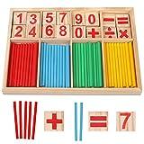Camelize Montessori Mathe Spielzeug,mathematisches Spielzeug Holz,Mathe Spielzeug Rechenstäbchen,Zahlenlernspiel, Pädagogisches Mathe-Spielzeug für Kinder 3 4 5