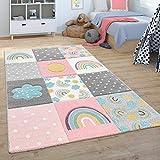 Paco Home Kinderteppich Teppich Kinderzimmer Spielteppich Regenbogen Wolken Rosa Grau Weiß, Grösse:120x170 cm