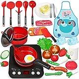Sanlebi Küchenspielzeug, Kinderküche Zubehoer mit Töpfe, Pfannen Set Realistischer Licht & Sound Induktionsherd, Gemüse, Küchengeschirr Kinder Kochgeschirr Spielzeug für 3 Jahren Mädchen (34PCS)