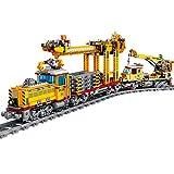 OIURV Zug Set mit Batteriebetriebenem Motor, Güterzug Set Led Beleuchtungsset, 1270 Klemmbausteine Kompatibel mit Lego City Güterzug