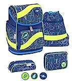 Belmil ergonomischer Schulrucksack Schulranzen Set 5 -teilig für Jungen 1-4 Klasse Grundschule mit Patch Set/Brustgurt, Hüftgurt/Magnetverschluss/Invasion/Blau Neongelb (405-51 Invasion)