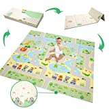 Krabbelmatte Baby Spielmatte Krabbelmatte Faltbare Baby spielunterlage übergroße Schaumstoffunterlage Reversible Baby-Krabbeldecke, Geeigne