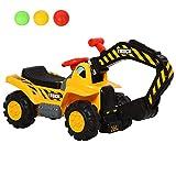 HOMCOM 4-in-1 Rutscher Kinder Kinderbagger Rutschauto Rutscherfahrzeug Laufrad mit Strauraum kleiner Korb&Bälle Gelb+Schwarz, 98 x 30 x 46 cm