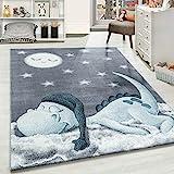 Carpetsale24 Kinderteppich, kurzflor Kinderzimmerteppich, Dino Wolke Figur Babyzimmer, BLAU, Maße:160 cm x 160 cm Rund