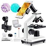 MAXLAPTER Mikroskop für Kinder ab 10 Jahre, Mikroskop 1000fach für Schüler, Experimentierkasten Mikroskop ab 8-12 Jahre, mit Led Lampe Objektträger Kameraanschluss