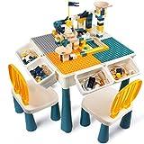 AMOSTING Höhenverstellbar Kindertisch mit Stühle , enthalten 100 Stück große Blöcke Kompatibel mit großen Blöcken. Ungiftiger und langlebiger Kunststoff-Spielzeugspeicher für Kinder.