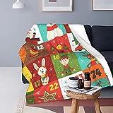 Adventskalender mit weihnachtlichen Charakteren, Fleece-Decke, Sofa-Überwurf, vielseitige Decke, flauschig, weich, für Bett und Couch, Reisen, Einzelbett, 152,4 x 127,8 cm