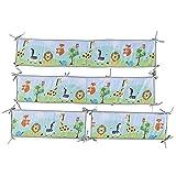 Chen0-super 4 STÜCKE Bettumrandung Nest Kopfschutz Nestchen, niedliche atmungsaktive Babybettumrandung Bettnestchen für Babybett, Handmade Kinderbett Beistellbett Gitterbett