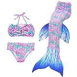 Wangmm Mädchen Badeanzug Meerjungfrau Schwänze, Kinder Meerjungfrauenflosse Schwimmen Bikini Set, Prinzessin Cosplay Kostüme für Halloween Partei,Geburtstagsgeschenk 3-12 Jahre