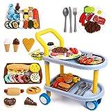 RuiDaXiang Kinder Food Trolley Auto, Kinder Rollenspiel große Speisewagenspielzeug und 98 Stück Lebensmittel, Küche, Geschirr Zubehör, Lernspielzeug für Jungen/Mädchen 3+Jahre
