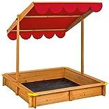 TecTake 800345 Sandkasten, Schwenkbares und Höhenverstellbares Sonnendach, Wurzelfeste Bodenplane - Diverse Farben (Rot   Nr. 402221)