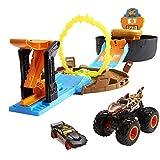 Hot Wheels GYN01 - Monster Trucks Stunt Reifen Spielset mit Startrampe, 1 Hot Wheels-Auto im Maßstab 1:64 und 1 Monster Truck, für 4 bis 8 Jahre
