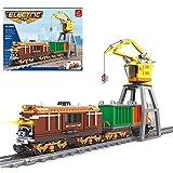LIND Technik Zug Eisenbahn Bausteine, 651 Klemmbausteine Technik City Güterzug mit Schiene Bausatz, Technik Elektrisch Zug Lokomotive Bauset Konstruktionspielzeug Kompatibel mit Lego