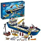 LEGO 60266 City Meeresforschungsschiff, schwimmendes Spielzeugboot, Tiefsee-Unterwasserset, Tauchabenteuer für Kinder