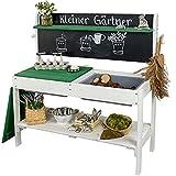 Meppi Matschküche Kleiner Gärtner Weiss / grün Outdoorküche aus Holz - Pflanztisch für Kinder / Basteltisch