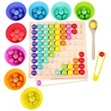 Montessori Spielzeug, GUBOOM Holz Clip Beads Brettspiel, Montessori Brettspiel, Wooden Puzzle, Regenbogen Puzzle, Rainbow Bead Game Early Education Puzzle Brettspiel (B)