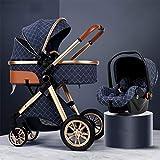 TXTC 3 In 1 Kinderwagen Wagen Klappbar Luxus-Kinderwagen Buggy-Spaziergänger Stoßdämpfung Federn High View Pram Baby-Spaziergänger Mit Mama Beutel Und Regen-Abdeckung(Color : Blue)