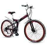 DJYD Erwachsene Falträder, High-Carbon Stahl Doppelscheibenbremse Folding Mountain Bike, Doppelaufhebung faltbares Fahrrad, tragbare Pendler Fahrrad, Rot, 24' 27 Geschwindigkeit FDWFN