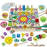 Akokie Holz Montessori Spielzeug 4 In 1 Perlen Spiel Angelspiel Besaitungsspiele Mathe-Lernspiele Interaktives Spielzeug Puzzles Lernspielzeug Geschenke für Kinder 3 4 5 6 Jahre Jungen Mädchen