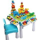 burgkidz 5-in-1-Kinder-Aktivitäts-Tischset - 128 Teile Kompatibel mit Bausteinen Spielzeug, Spieltisch Enthält 1 Stuhl und Bausteintisch mit Aufbewahrung, grüne Grundplatte / Blaue Farbe