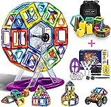 COOLJOY Magnetische Bausteine, 100 PCS Magnetische Bauklötze Set, Magnet Baustein Pädagogische Geschenk für Kinder, Magnetbausteine Auto Spielzeug / Roboter / Animal / Ferris Wheel