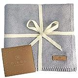 Babydecke Baumwolle grau | 100% GOTs BIO Neugeborenen Decke | atmungsaktive Baby Sommerdecke mit dünner Bordüre für Mädchen/Jungen | leichte Strickdecke Baumwolldecke | Geschenk zur Geburt nachhaltig