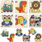 Spielzeug Puzzle ab 1 2 3 Jahre - 6 Montessori Holzpuzzle für Kinder ab 4 5 - Steckpuzzle Geschenk für Mädchen and Junge