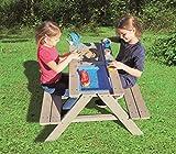 Sand- Wasserspieltisch Kindersitzgarnitur/Massivholz Tisch mit Sitzbänken Abnehmbarer Tischplatte und 2 Spielwannen Matschkisten Sandkiste/witterungsbeständig