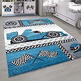 HomebyHome Kurzflor Kinderteppich Formel 1 Rennwagen Kinderzimmer Teppich versch. Farben, Farbe:Blau, Grösse:80x150 cm