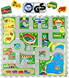 Hakuna Matte Puzzlematte für Babys City – TÜV SÜD GS Zertifiziert – 20% dickere Spielmatte in Einer umweltfreundlichen Verpackung – 16 Puzzlematten mit Straßen und 11 Fahrzeugen – 1,2x1,2m