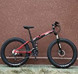 WellingA 24 Zoll 26 Zoll Mountainbike, Erwachsenen Jugend Hardtail MTB, Rahmen aus Kohlenstoffstahl, Großer Reifen Vollfederung Mountain Bike,003,24inch