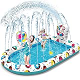 VATOS Splash Pad Sprinkler Planschbecken Play Matte 67'*45' Wasser Spielmatte Wasserspielzeug für Kinder Garten Outdoor Sommer Einnhorn Aufstellpool Aufblasbarer Pool für 3+ Jungen Mädchen 170*115cm