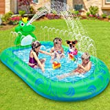 LETOMTY Splash Pool, Frosch Planschbecken für Kinder, Sprinkler Pool mit 2 Sprühteilenfür, AufblasbarerPool den Sommergarten Outdoor-Aktivitäten 172*104*46cm Aufblasbarer Pool Wasserspielmatte