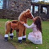 PonyCycle Offizielle Klassisch Modell U Reiten auf Pferd Spielzeug Plüsch Lauftier Braunes Pferd mit Bremse und Ton für 4-9 Jahre Ux424