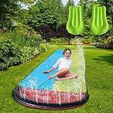 PW TOOLS Rasen Wasserrutschen, 2 Personen Wasserrutsche für Kinder, Große Garten Wasserrutsche, Reißfeste Wasser rutschfeste Matte Garten Wasserrutsche Outdoor mit 2 Luftmatten