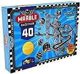 Marble Racetrax 869027 - Murmel Mania Rennbahn Starter Set 40 teilig, Kugelbahn mit 6 Meter Laufstrecke & 5 Murmeln, Murmelbahn Bastelset, Bauset aus FSC Karton, Konstruktionsset für Kinder ab 8 Jahre