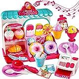 LINFUN KIDS Eiscreme Spielzeug Eisständer mit Musik und Licht Lebensmittel Kaufmannsladen Spielzeug mit Kasse Küche Zubehör, Rollenspiel für Kinder